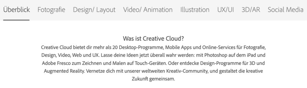 Adobe Portfolio Überblick