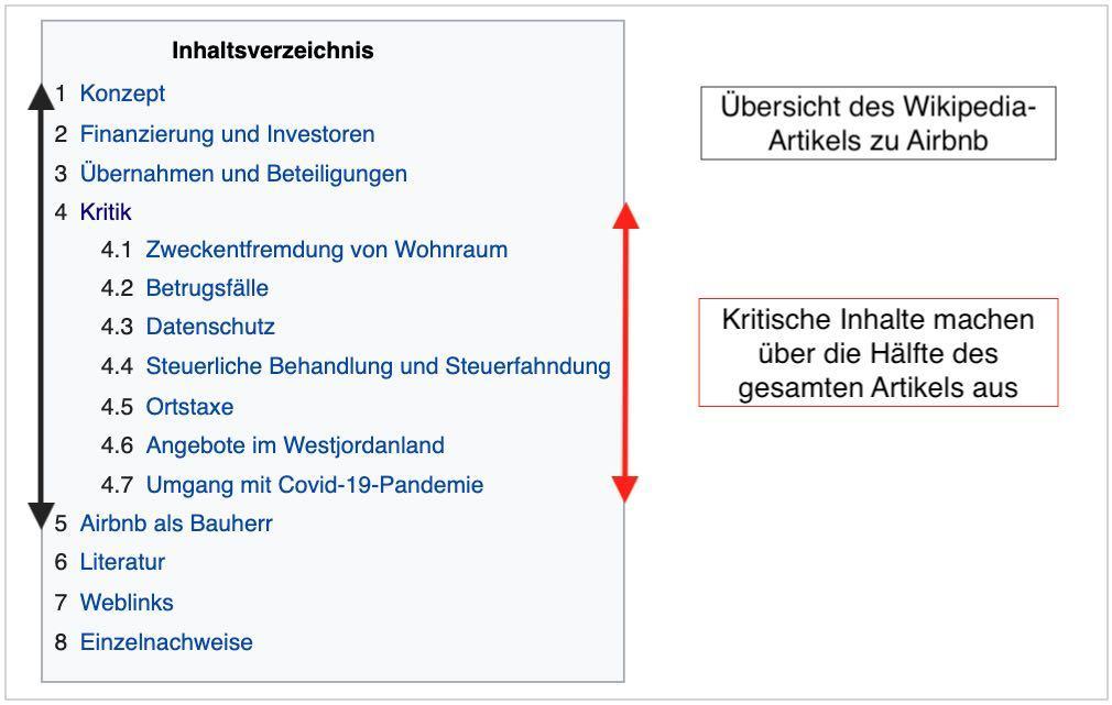 Expedia Wikipedia Artikel - Kritik