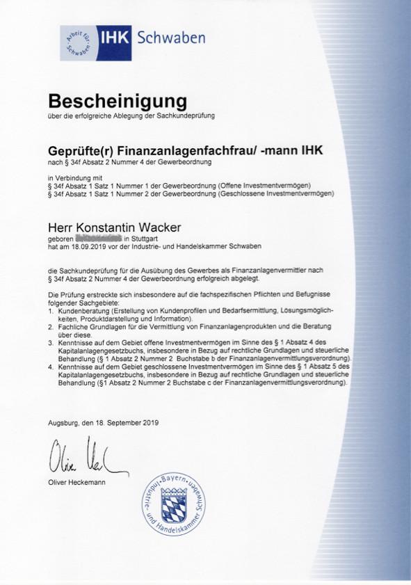 Aktien-Coaching Qualifikation: IHK-Bescheinigung zum geprüften Finanzanlagefachmann