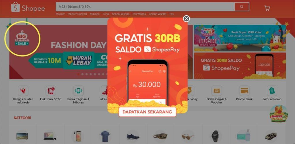 Shopee Website in Indonesien