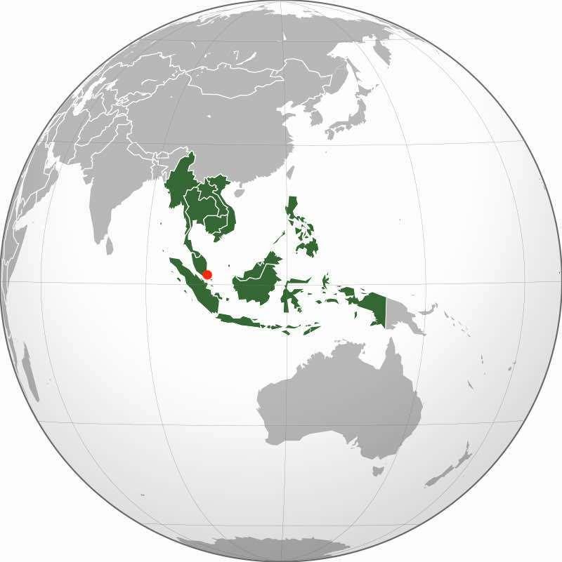 Südostasien auf der Weltkarte
