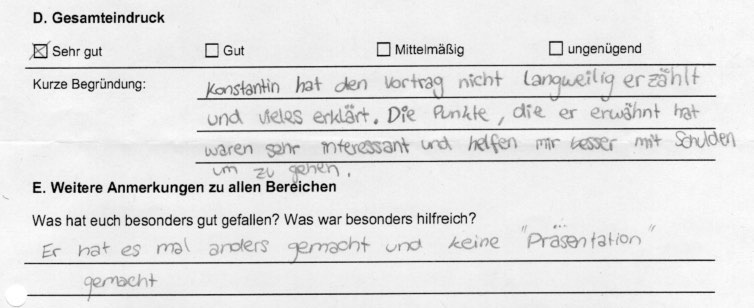 """Feedback - Vortrag zum Thema """"Schuldenprävention"""" an Augsburger Wirtschaftsschulen (2/3)"""