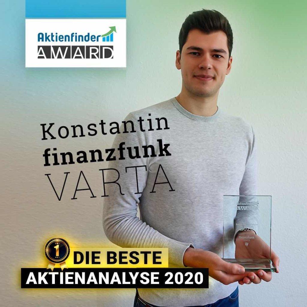 finanzfunk Aktienfinder-Award Auszeichnung: Beste Aktienanalyse 2020